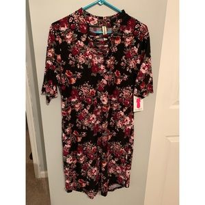 Floral dress with sexy neckline